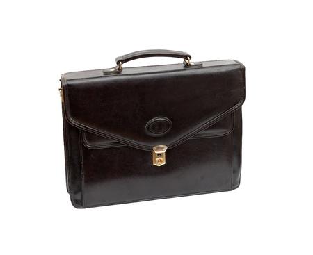 black briefcase: Malet�n de cuero moda sobre un fondo blanco