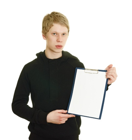 mnemonic: a young man holds a clipboard isolated on white