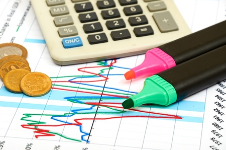 Calculator, coins and pen laying on chart. Concept of finance. Stock Photo - 10622332