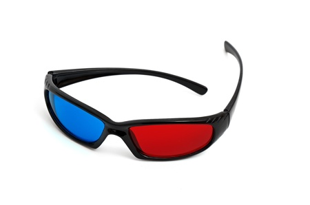 one pair of 3D glasses isolated in white Stock Photo - 10696631