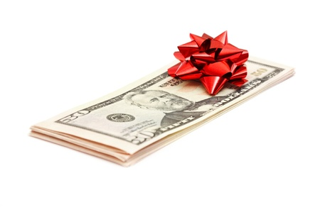 50 Dollar with holidays bow isolated on white Stock Photo - 10766749