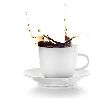 splashy: Coffee splash in white cup isolated on white