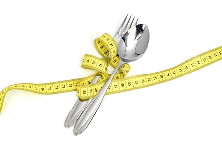 Steel spoon a fork and measuring tape Stock Photo - 13913211