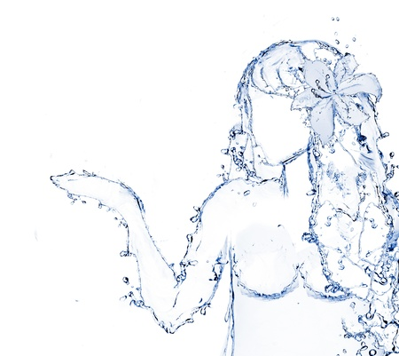 water shaped girl created from water splash isolated in white Stock Photo - 13913255