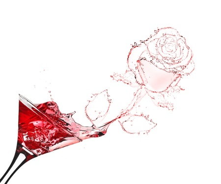 red rose splash from martini isolated on white Stock Photo - 13913154