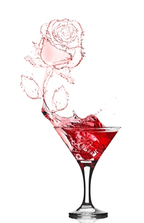 red rose splash from martini isolated on white Stock Photo - 13913162
