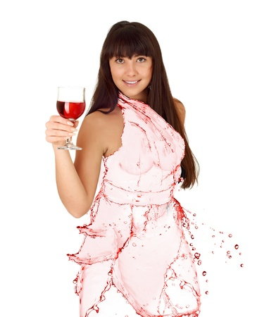 water shaped girl created from wine splash isolated in white photo