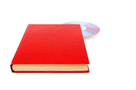 Book and disk isolated on white background photo