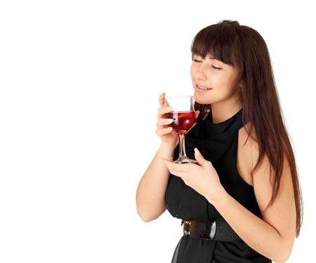 Lovely girl holding a glass of wine photo