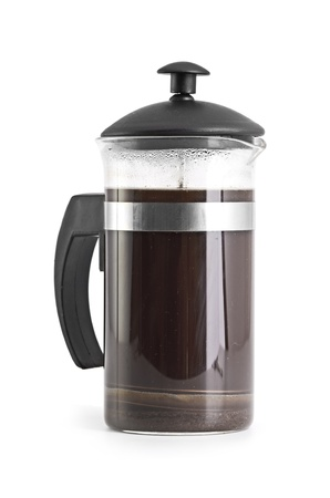 coffee pot: French press coffee maker on white background with reflection