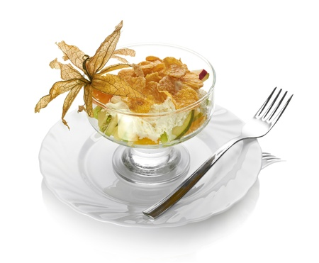 Fresh fruits salad isolated on white background Stock Photo - 14057970