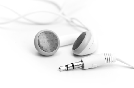 concept of digital music white Headphones isolated photo