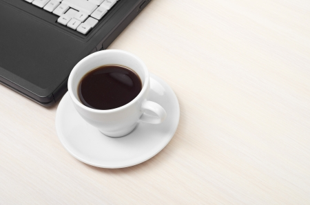 laptop with fresh cup of coffee and notebook, view from above Stock Photo - 14131965