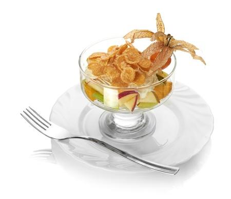 Fresh fruits salad isolated on white background Stock Photo - 14131882