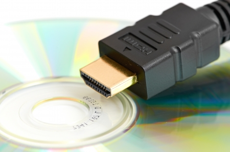High Definition - HDMI Cable and Blank DVD Disc Stock Photo - 14241922