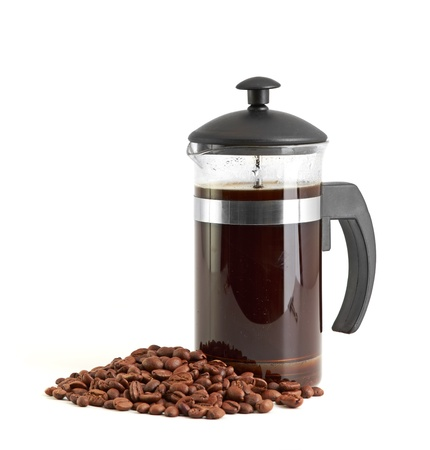 French press coffee maker on white background with reflection photo