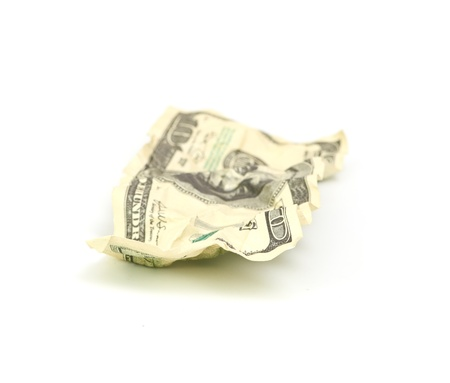crumpled hundred dollar on a white background photo