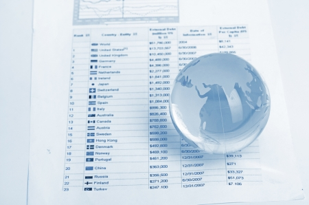 Glass globe and pen on finance chart photo