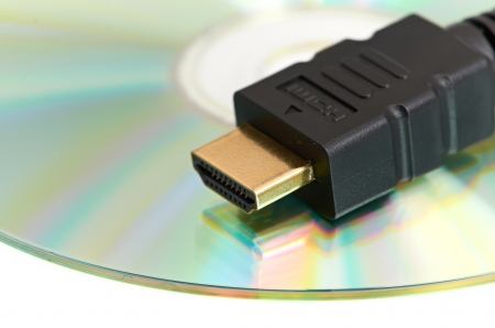 High Definition - HDMI Cable and Blank DVD Disc photo