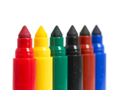 fine tip: Multicolored Felt-Tip Pens isolated on a white background