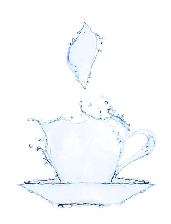 coffee cup making from water splash isolated photo