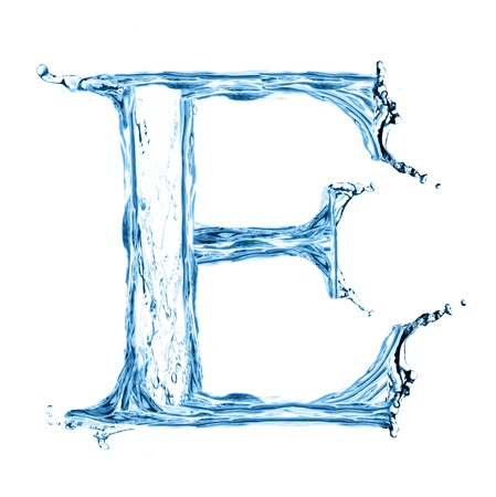 water liquid letter: One letter of water alphabet isolated on white