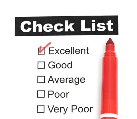 Tick placed in excellent checkbox on customer isolated photo