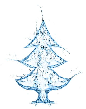 falling water: fir tree from water splash isolated on white Stock Photo