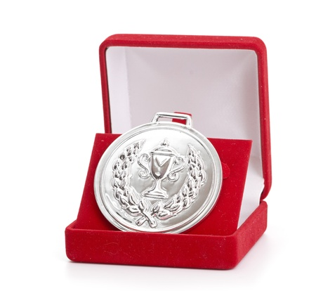 silver medal in red gift box  white background