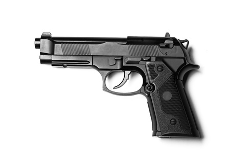semi automatic: Weapon series  Modern U S  Army handgun M9 close-up  Isolated on a white background  Left side view  Studio shot  Stock Photo