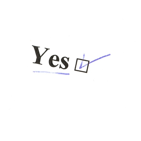 yes word isolated on a white background Stock Photo - 14947797