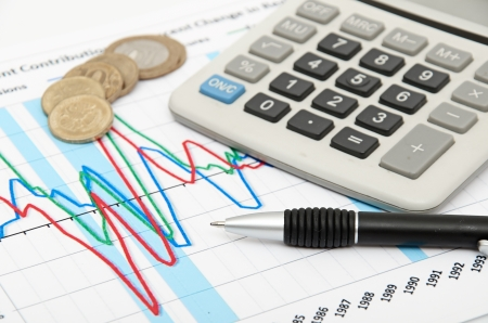 Calculator, coins and pen laying on chart  Concept of finance  photo