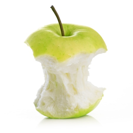 Green bitten apple isolated on white background
