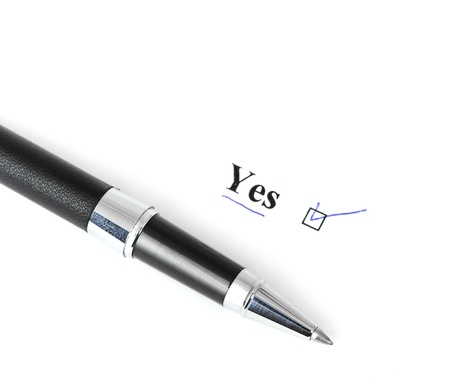 yes word isolated on a white background