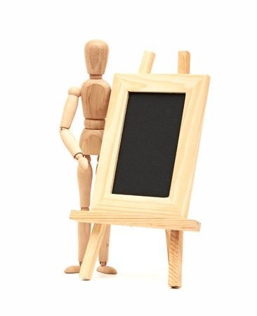 Wooden concept of mannequin in pose with wood frame Stock Photo - 15279966
