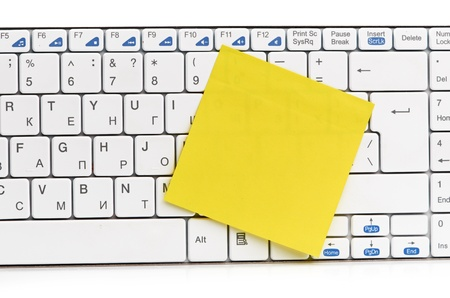 memo on white keyboard can use as background Stock Photo - 15471783