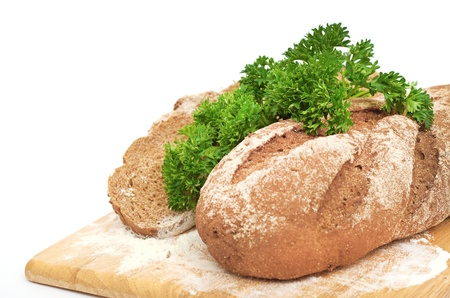 Fresh bread with ear of wheat photo