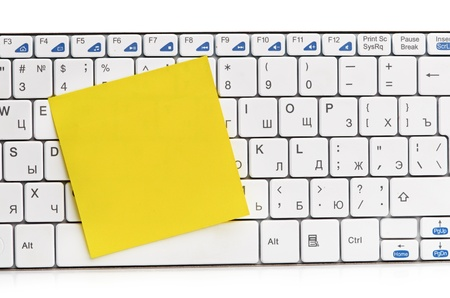 memo on white keyboard can use as background Stock Photo - 15790020