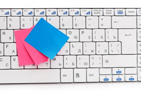 memo on white keyboard can use as background Stock Photo - 16035156
