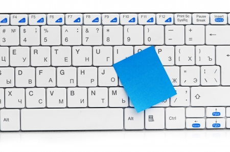memo on white keyboard can use as background Stock Photo - 16157490