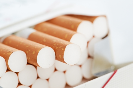 Closeup of a pile of cigarettes Stock Photo