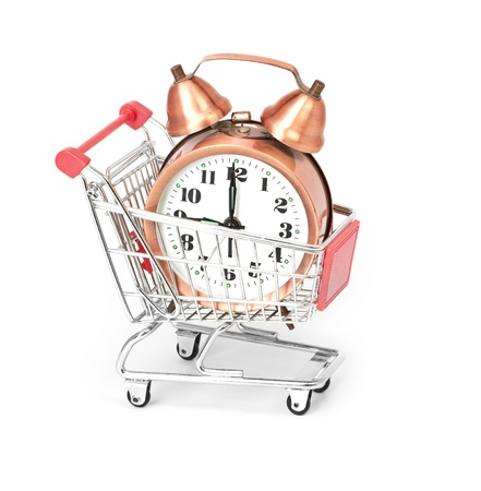 shopping cart with clock Stock Photo - 16157187