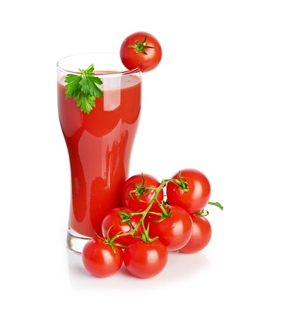 Tomato juice isolated on white photo