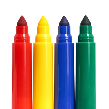 Multicolored Felt-Tip Pens isolated on white background photo