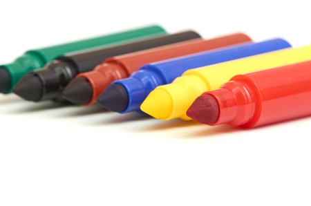 fine tip: Multicolored Felt-Tip Pens isolated on white background