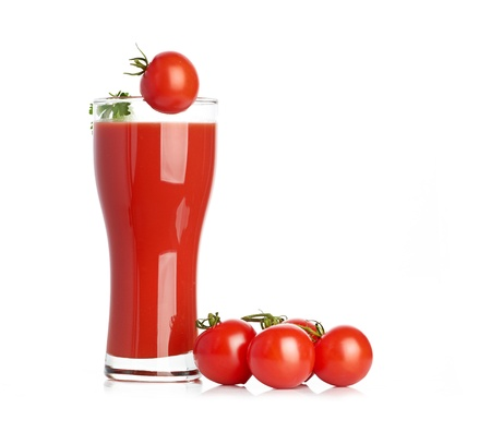 Tomato juice  isolated on white background photo