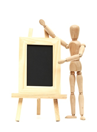 Wooden concept of mannequin in pose with wood frame Stock Photo - 16779752
