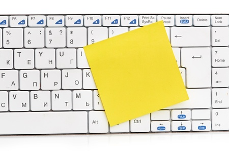 memo on white keyboard can use as background Stock Photo - 17004468