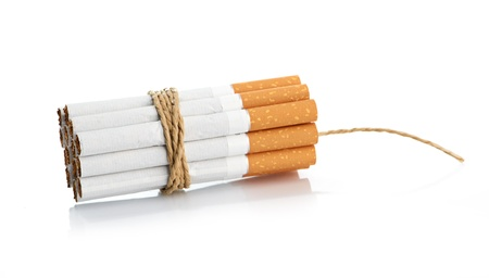 Cigarettes tied with rope and wick isolated on white Stock Photo - 17001580