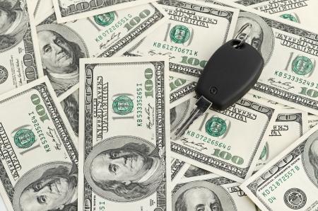 Car Key on 100 dollar background Stock Photo - 17176308